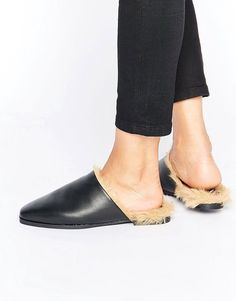 Sol Sana Kim Faux Fur Flat Mules at ASOS. Flat Mules, Women's Mules, Mules Shoes, Heeled Mules, Velvet Slippers, Dangly Earrings, Leather Mules, Classic Outfits, Womens Flats