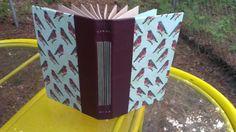 Hand made book  Mint and Burgandy Bird print by BookBindingBirdy, $50.00