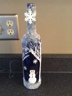Winter wine bottle