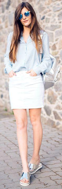 Valerie Husemann + ready for spring + cute outfit + simple blue linen shirt + white mini skirt + metallic silver sandals + Valerie + minimalistic style  Shirt: Selected Femme, Skirt: Vero Moda, Shoes: Blink.