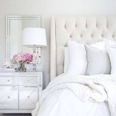 Home Inspo Arhaus linen tufted bed mirrored nightstand target decor white wedding pottery barn pink peonies neutral decor Dream Bedroom, Master Bedroom, Target Decor, Mirrored Nightstand, Nightstand Ideas, White Nightstand, Bedside, My New Room, Beautiful Bedrooms