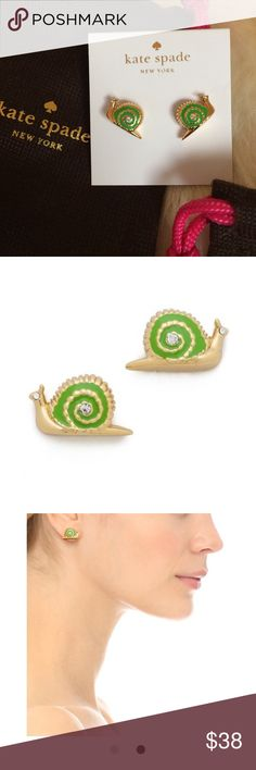 "Kate Spade ♠️ Snail stud earrings NWOT. Never worn. One of ""Garden party"" Very cute! Cheers  kate spade Jewelry Earrings"