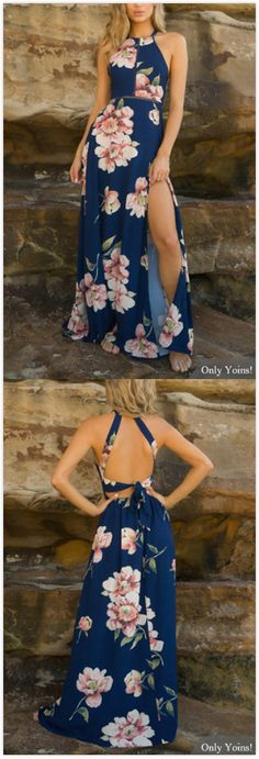 Navy Random Floral Print Splited Hem Dress
