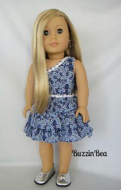 Blue Hydrangea  Dress  American Girl Doll Dress by BuzzinBea