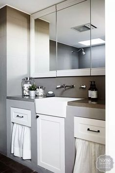 ... Concrete Bench Top, Concrete Kitchen, Cosy Bathroom, Modern Bathroom, Small Bathroom, Bathroom Ideas, Bathrooms, Butler Sink, Small Space Living