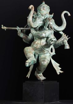 """Dancing 3 Headed Ganesh Playing the Flute 21"""""""