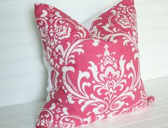 1 18x18 Pink damask Pillow Cover by TheLaceyPlacey on Etsy, $14.50