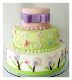 Butterflies & Flowers  Baby Shower or B Day Cake