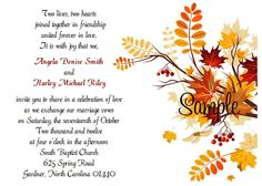100 Personalized Invitations: Size 5 x 100 Personalized Autumn Fall Leaves WeddingInvitation. 100 Reception Cards: 5 x 4 we will need from you to personalize your order. 100 Personalized RSVP Cards: Size 5 x 4 Wedding Reception Invitation Wording, Marriage Invitation Card, Wedding Invitation Card Design, Indian Wedding Invitations, Wedding Card Design, Wedding Cards, Wedding Vows, Custom Invitations, Wedding Stuff