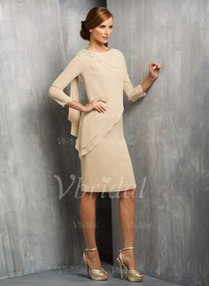 Sheath/Column Scoop Neck Knee-Length Chiffon Mother of the Bride Dress With…