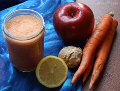 Carrot Ginger Smoothie  This one's a little spicy! I think it would be nice as a soup too.  Take a few carrots, an apple, a chunk of ginger, half a lemon and water. Mix it all together and vuala.