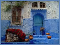 Chefchaouen, Morocco, is noted for its blue buildings and doorways