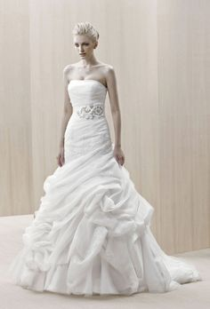"""Brides: Blue By Enzoani - Fall 2012. """"Etawah"""" strapless silk organza and tulle dropped waist A-line wedding dress with beaded details and a ribbon sash, Blue By Enzoani"""