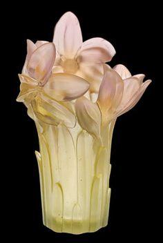 Daum Crystal Amaryllis Vase Pink.