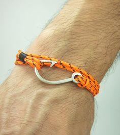 Fish Hook Bracelet in Orange Black Rope Bracelet by ZEcollection, $14.00