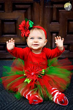 Baby Gear I Love Santa w//Satin Bow Size 3//6 Months Red