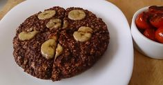 Giant chocolate banana breakfast cookie  Simply Filling     1/2 c quick oats  1 egg beaten  1/2 a banana mashed with a fork plus a few slice...
