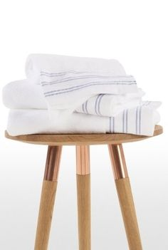 The Antalya towel with a woven striped border. Inspired by Turkish design with a decorative blue and white border. Nautical Cushions, Turkish Design, White Towels, Antalya, Homemaking, Bath Towels, Bar Stools, Blue And White, Coastal