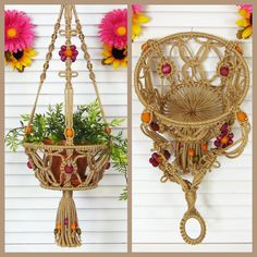 Fruits and veggies can hang hippie-style in this 8 macrame hanging basket! Large enough to hold fruits sizing from lemons to oranges and a great way to store onions and potatoes. This hanging basket is also able to hold a small potted plant! The open knotting pattern allows air to easily move through the basket. The sides of the basket are soft and flexible. I used the same original design for this basket as my macrame plant hanger line featuring beaded flowers, loops and twists and a beaded…