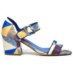 Naki by I Love Billy. #ilovebilly #cinorishoes #cinori #midheel #comfortableshoes #heels #blockheel #Under100 #blue #print #fabric #pretty #races #affordable #fashion