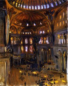 """Santa Sofia"" (Interior - Hagia Sophia, Istanbul, Turkey) / John Singer Sargent / 1891 / oil on canvas Anime Comics, Sargent Art, Beaux Arts Paris, Munier, Victorian Art, Metropolitan Museum, American Artists, Painting & Drawing, Framed Artwork"