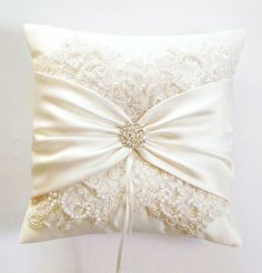 Wedding Ring Pillow with Beaded Alencon Lace, Ivory Satin Sash Cinched by Crystals - The MIRANDA Pillow