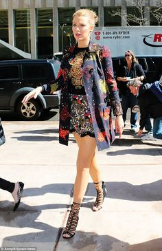 Pins on parade: Blake's fourth choice of the day, was a pretty patterned minidress, which ...