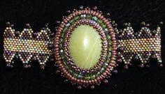 Beadweaving Bead Embroidery Lime Jade Cabochon Bracelet