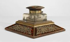 French Victorian accessories inkwell tortoise-shell
