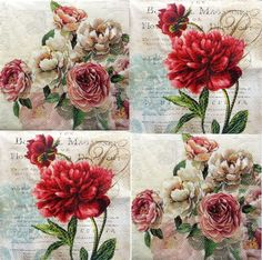 4 x Single Vintage Table Paper Napkins / Craft/ Party / for Decoupage / FLORAL 8