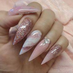Acrylic Nail Designs, Nail Art Designs, Acrylic Nails, Marble Nails, Pink Marble, Bridal Nails, Wedding Nails, Bailarina Nails, Cute Nails