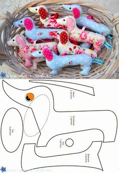 Patterns of a dog from fabric of a symbol of it will turn out even at beginners! 650 × 948 Pixel Source by Sew your own dachshund Pin by Jani on Nähen Free sewing pattern for an ad Sewing Toys, Sewing Crafts, Sewing Projects, Sewing Ideas, Knitting Toys, Free Knitting, Sewing Stuffed Animals, Stuffed Animal Patterns, Diy Couture