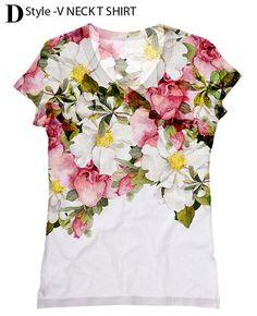 mujer PLUS tamaño hermosas rosas imprimir top camiseta y