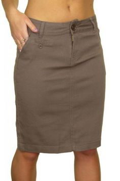 24664 Heavy Cotton Above Knee Stretch Jeans Skirt Light Brown 4 ** Be sure to check out this awesome product.