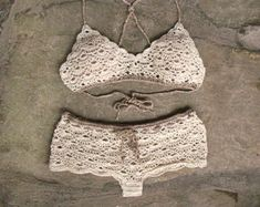 Crochet bikini set in pale pink Vintage bikini Bikini by MarryG