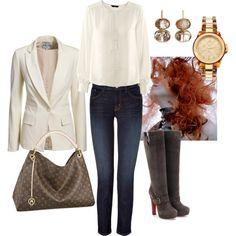 #combinacion para un día formal con super botas.   #moda #fashion #botas