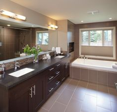 🛁This bathroom felt too old to even feel clean anymore. 🤢 We came in and completely refreshed this bathroom into an in-home Spa. Bathroom Renos, Bathroom Renovations, Bathrooms, Home Spa, Custom Cabinets, Cabinet Design, Corner Bathtub, Bungalow, Layout
