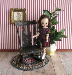 Vintage Hand Painted Pennsylvania Dutch Style Rocker by TheToyBox