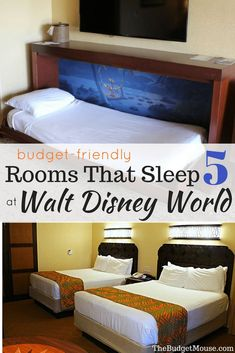 How to find budget-friendly Disney rooms that sleep five for your Disney World vacation. Learn how to find rooms that sleep 5 at Value, Moderate, and Deluxe Resorts. Get Disney World tips and tricks, hacks, and learn how to do Disney World on a budget. Disney Resort Hotels, Disney World Hotels, Disney Destinations, Walt Disney World Vacations, Disney Travel, Family Vacations, Hotel Disney, Family Travel, Dream Vacations