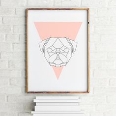 Geometric animal art print poster Pug Coral / Printable / Scandinavian art / Nordic Art / Wall Decor / digital print illustration