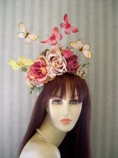 Kentucky Derby Fascinator Hat Butterfly and Flower by MsPurdy
