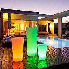 Tango Bluetooth LED Planter Outdoor Floor Lamps, Outdoor Flooring, Indoor Outdoor, Outdoor Spaces, Deck Lighting, Cool Lighting, Modern Lighting, Landscape Lighting, Floating Table
