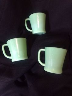 3 Vintage Jadeite Green Fire-King D-Handle Oven Ware Coffee Cup Mug WOW!
