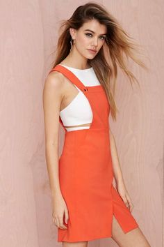 Do the Bright Thing Overall Dress - Day | Shift | Solid | All | Clothes |  | Newly Added |  | Rompers + Jumpsuits