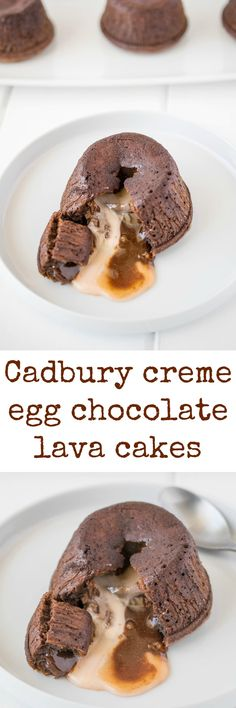 Cadbury creme egg chocolate lava cakes are a chocolate lovers dream. Rich chocolate cake with a molten center of a cadbury cream egg. Your Easter dessert just took a left turn.