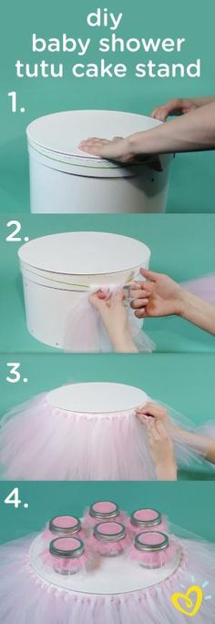 Add some pretty pink to the cake stand at your next party with this DIY tutu cake stand, perfect for a baby girl's princess-themed baby shower or first birthday celebration. This video tutorial will show you how to create this look in just a few simple steps! by melisa