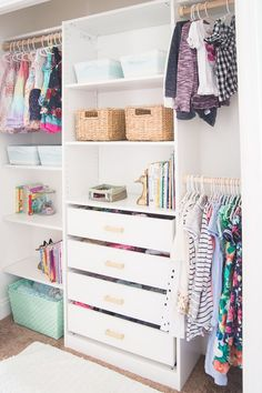 Kids closet makeover with ikea closet organizer diy kids closet organizers bathrooms in ancient india Closet Walk-in, Closet Ikea, Ikea Closet Organizer, Closet Hacks, Closet Bedroom, Ikea Closet System, Ikea Kids Bedroom, Ikea Closet Shelves, Diy Closet Ideas