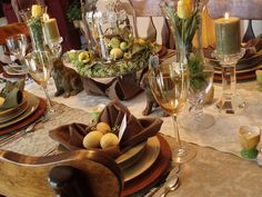 Natural Easter tablescape