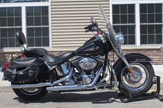 Learn more about this used black 2008 Harley-Davidson® FLSTC Heritage Softail® Classic motorcycle for sale on ChopperExchange. It has miles and it's located in Rockford, Michigan. Harley Bikes, Harley Davidson Motorcycles, 2008 Harley Davidson, New Harley, Bike Trailer, Honda Shadow, All Brands, Motorbikes, Motorcycles