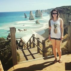 Doing the tourist thing  #greatoceanroad #twelveapostles #pineapple #ocean #tourist #fitfam #stairs #roadtrip #holiday #inked #tattoo #sunny #birthday #girlswithtattoos #girlswithink #chickswithink #chickswithtattoos #beaches #coast #australia #ausfitfam by meljoanne87